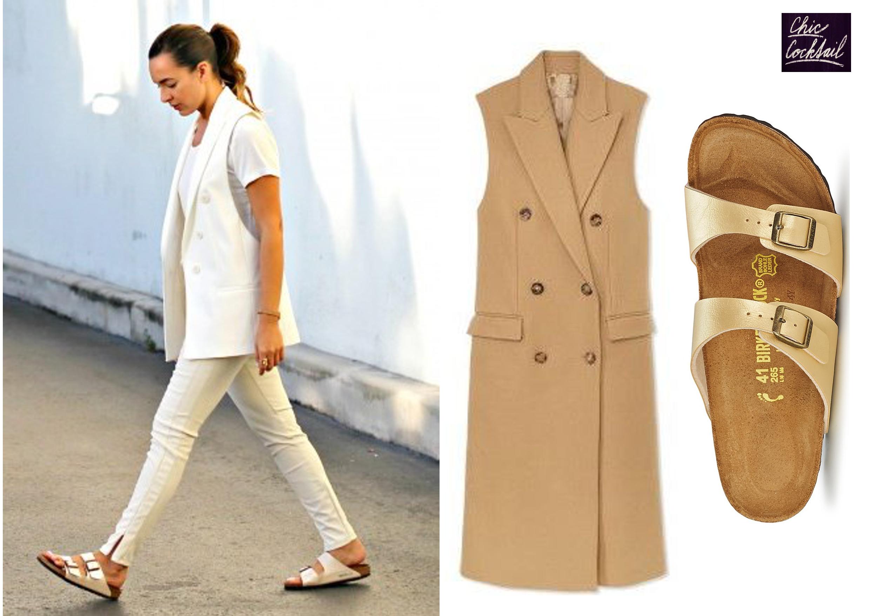 Birkenstocks and long vest