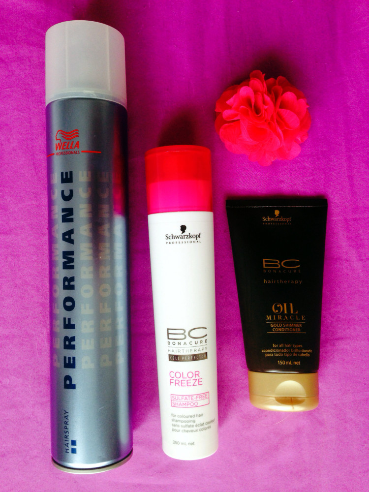 Wella Professionals PERFORMANCE extra strong hair spray, Schwarzkopf Professional BC Bonacure Color Freeze Sulfate – Free Shampoo For Colored Hair, Schwarzkopf Professional BC Oil Miracle Conditioner