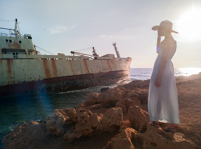 Shipwreck at Sea Caves in Paphos Cyprus